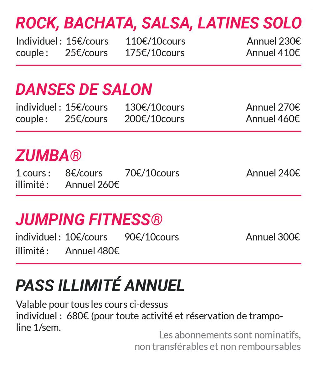 16danse - Cours de danse à Angoulême - Tarifs 2017/2018